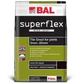 BAL Superflex Wide Joint Charcoal Tiling Grout For Walls 3.5kg
