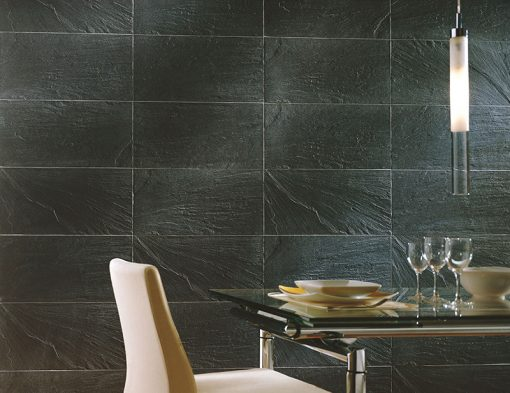 Colorker Pizarra Negro Black Rectified Porcelain Floor Tiles Room Display