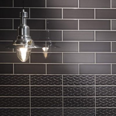 Johnson Savoy SAVO7A Brick Noir Gloss Ceramic Wall Tile (300x100mm)