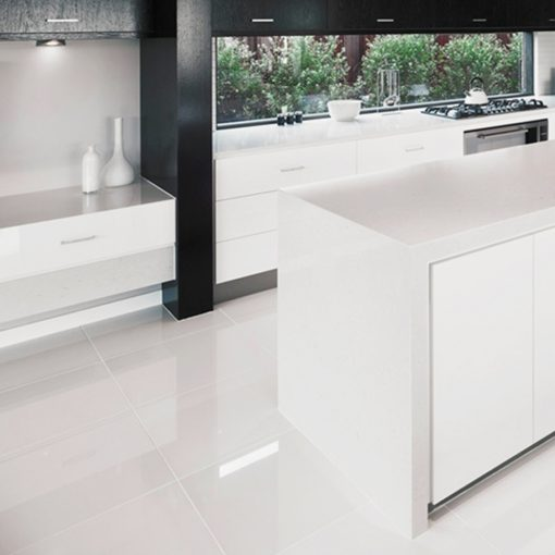 Overland Super White High Gloss Rectified Porcelain Floor Tiles