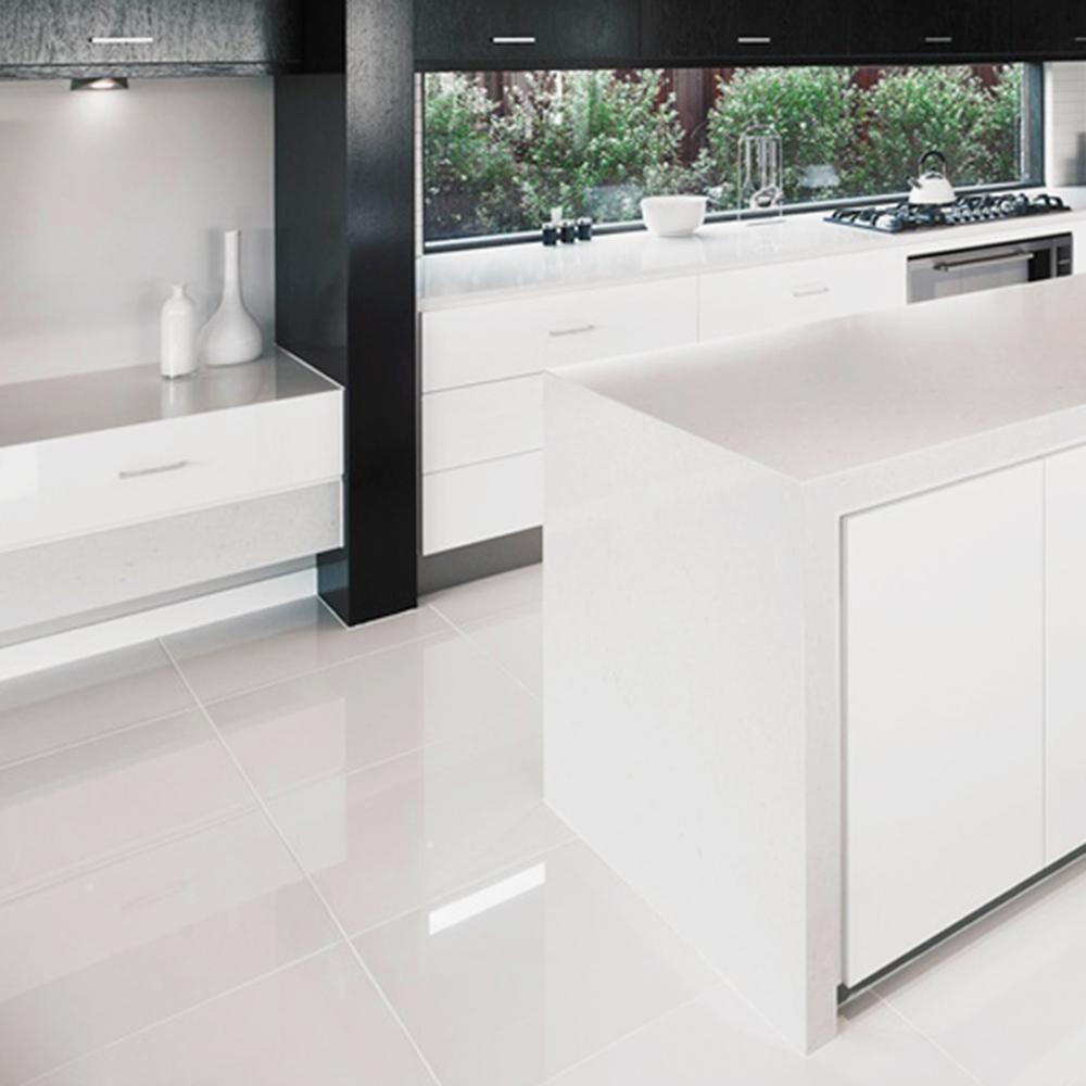 Black Gloss Kitchen Floor Tiles: Overland Super White High Gloss Rectified Porcelain Floor