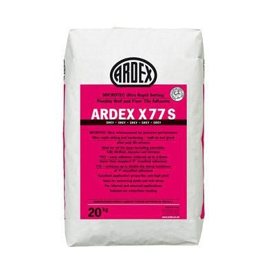 Ardex X77S Microtec Ultra Rapid Set Flexible Grey Wall & Floor Adhesive  20kg