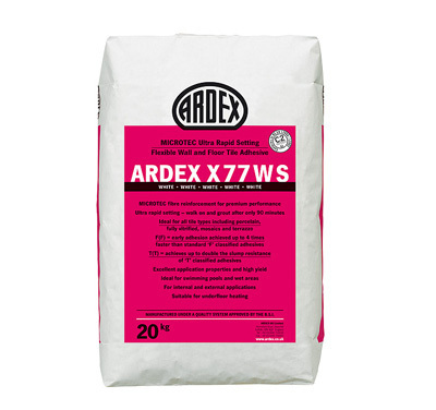 Ardex X77WS Microtec Ultra Rapid Set Flexible White Wall & Floor Adhesive  20kg