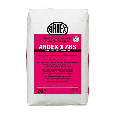 Ardex X78S Microtec Ultra Rapid Set Flexible Grey Floor Tile Adhesive  20kg