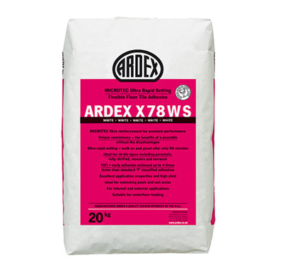 Ardex X78WS Microtec Ultra Rapid Set Flexible White Floor Tile Adhesive  20kg