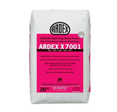 Ardex X7001 Rapid Dry Grey Floor Tile Adhesive  Wood Floors  20kg