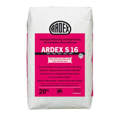 Ardex S16 Grey Rapid Hard & Drying Tile + Stone Adhesive  20kg