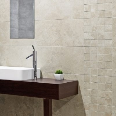 Pamesa Giotto Marfil Travertine Effect Satin Mosaic in bathroom