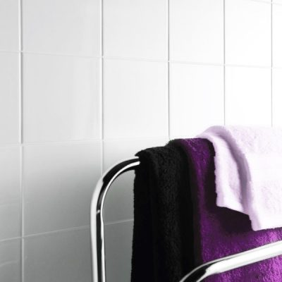 UK Tiles Value Flat Gloss White Ceramic Gloss tiles in bathroom