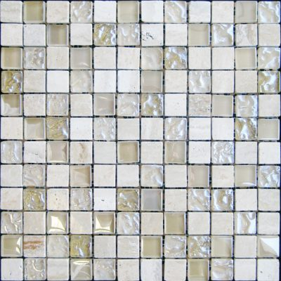 Cream Marble & Bubble Gloss Mosaic Beige