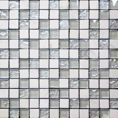 White Marble & Bubble Gloss Mosaic White