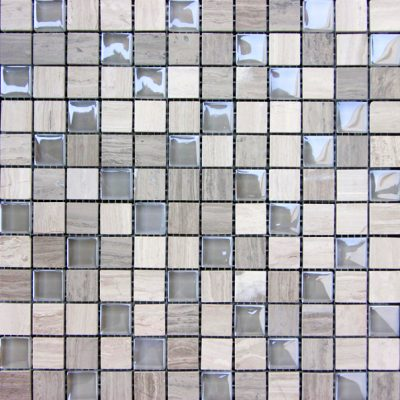Grey Marble & Bubble Gloss Mosaic  tiles