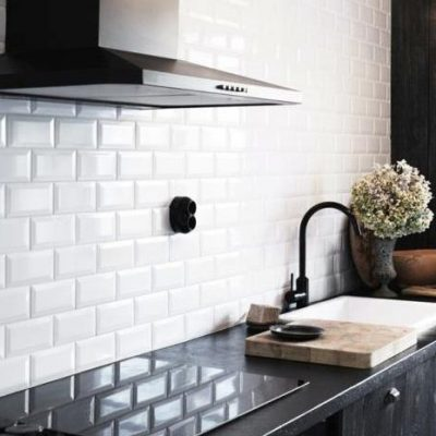 Johnson White Bevel Brick Gloss Ceramic Wall Tile