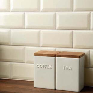 Johnson Cream BVBR2A Bevel Brick Gloss Ceramic Wall Tile (200x100x7.5mm)