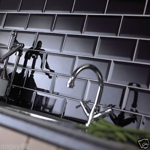 Johnson Black Bevel Brick Gloss Ceramic Wall Tile