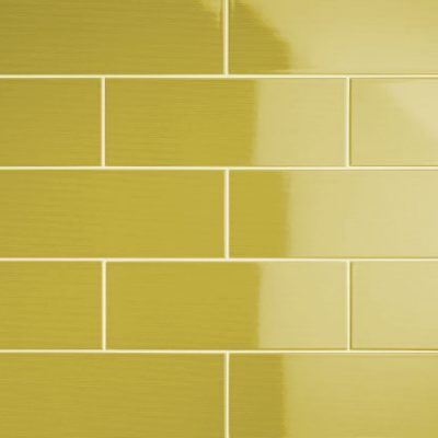 Johnson Vivid Lime Gloss Brick Ceramic Wall Tile