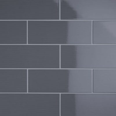Johnson Vivid Dark Grey Gloss Brick Ceramic Wall Tile