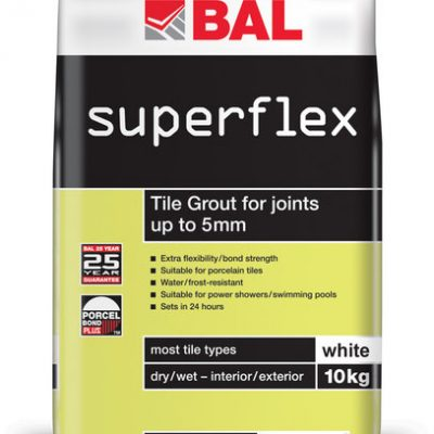 Bal Superflex White Tiling Grout For Walls 10kg