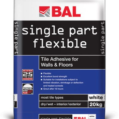 Bal Single Part Flexible White Cement Based Tiling Adhesive For Walls & Floors 20kg