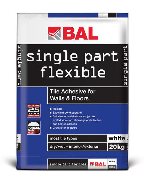 Bal Single Part Flexible White Cement Based Tiling Adhesive For Walls & Floors 20kg