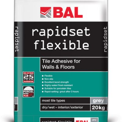 Bal Rapid Set Flexible Grey Cement Based Tiling Adhesive For Walls & Floors 20kg