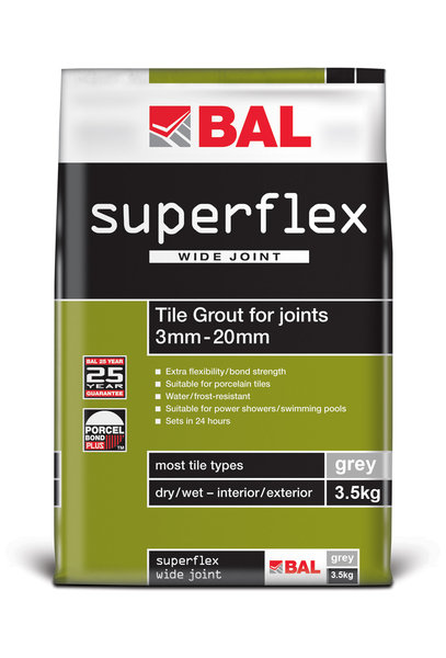 Bal Superflex Wide Joint Grey Tiling Grout For Walls 3.5kg