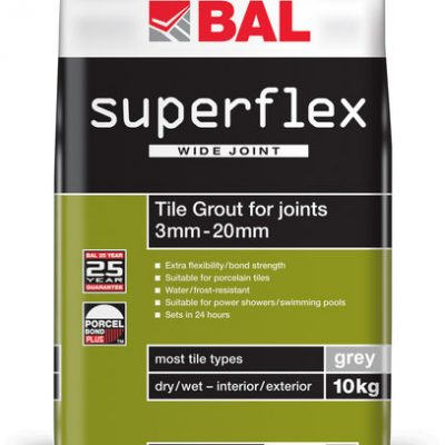 Bal Superflex Wide Joint Grey Tiling Grout For Walls 10kg