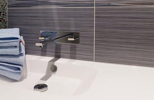 Colorker Edda Series Grey Gloss Ceramic tile in bathroom