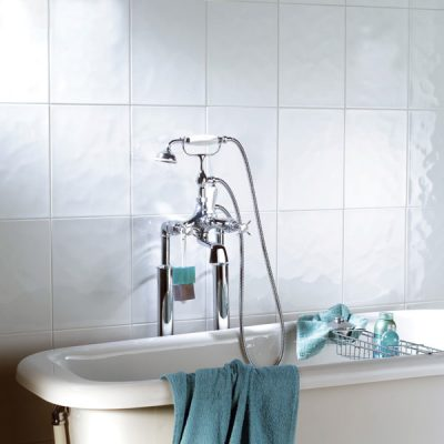 UK Tiles Value Bumpy Gloss White Ceramic Gloss tiles in bathroom
