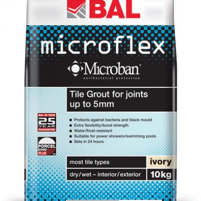 Bal Microflex Ivory Tiling Grout For Walls 10kg