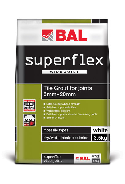 Bal Superflex Wide Joint White Tiling Grout For Walls 3.5kg