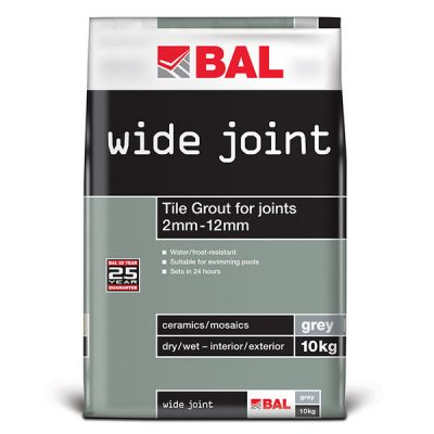 Bal Wide Joint Grey Tiling Grout For Walls & Floors 10kg
