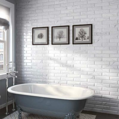 Carrara Series Marble Effect Bevel Edge Gloss Ceramic Wall Tiles in bathroom