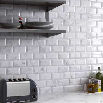 Carrara Series Marble Effect Bevel Gloss Ceramic Wall Tiles in kitchen
