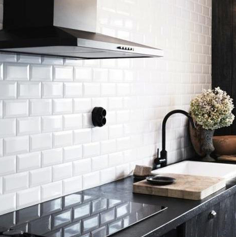 Johnson White Bevel Brick Wall Tile