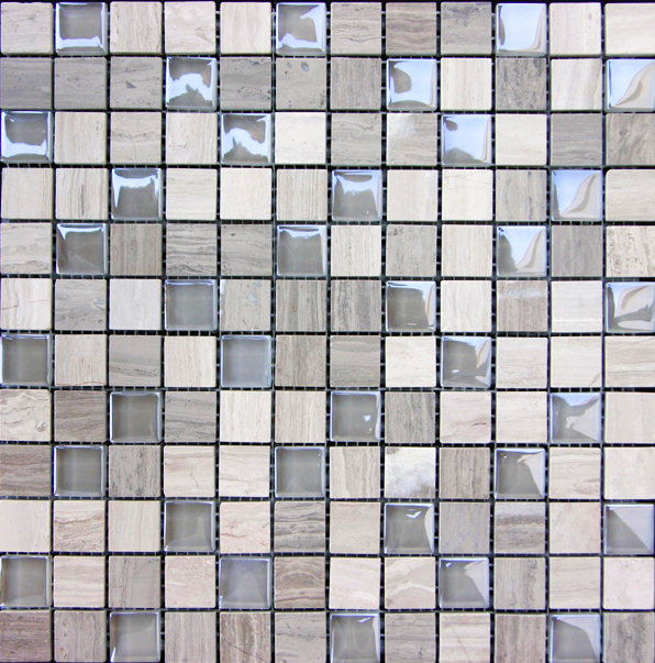 Grey Marble & Bubble Gloss Mosaic Grey