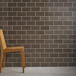 Johnson Savoy SAVO4A Brick Caraway Gloss Ceramic Wall Tile Room Shot