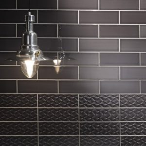 Johnson Savoy SAVO7A Brick Noir Gloss Ceramic Wall Tile (300x100mm)