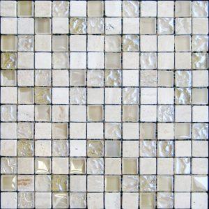 Cream Marble & Bubble Gloss Mosaic Beige
