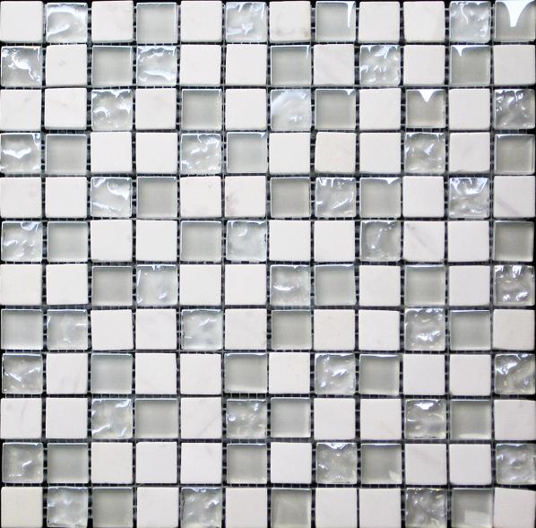 White Marble & Bubble Gloss Mosaic White