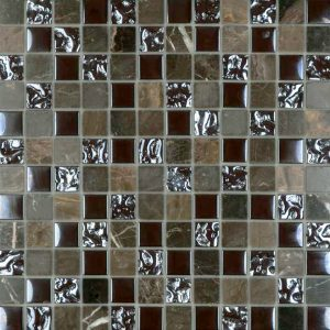 Brown Marble & Bubble Gloss Mosaic tiles