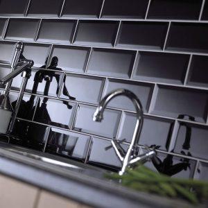 Johnson Black BVBR3A Bevel Brick Gloss Ceramic Wall Tile (200x100x7.5mm)