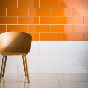 Johnson Vivid White and Orange Gloss Brick Ceramic Wall Tile