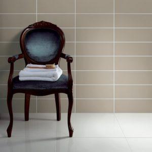 Johnson Vivid Clay Gloss Brick Ceramic Wall Tile with chair