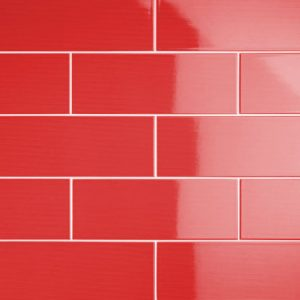 Johnson Vivid Red Gloss Brick Ceramic Wall Tile