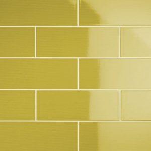 Johnson Vivid Lime Gloss Brick Ceramic Wall Tile