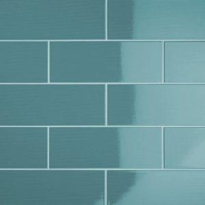 Johnson Vivid Teal Gloss Brick Ceramic Wall Tile