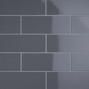 Johnson Vivid Dark Grey Gloss Brick Ceramic Wall Tile