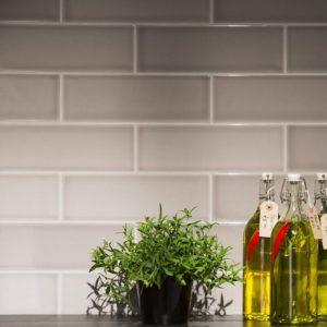 Johnson Savoy Brick Steel Gloss Ceramic Wall Tile