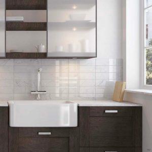 Carrara Series Marble Effect Flat Ceramic Wall Tiles in bathroom